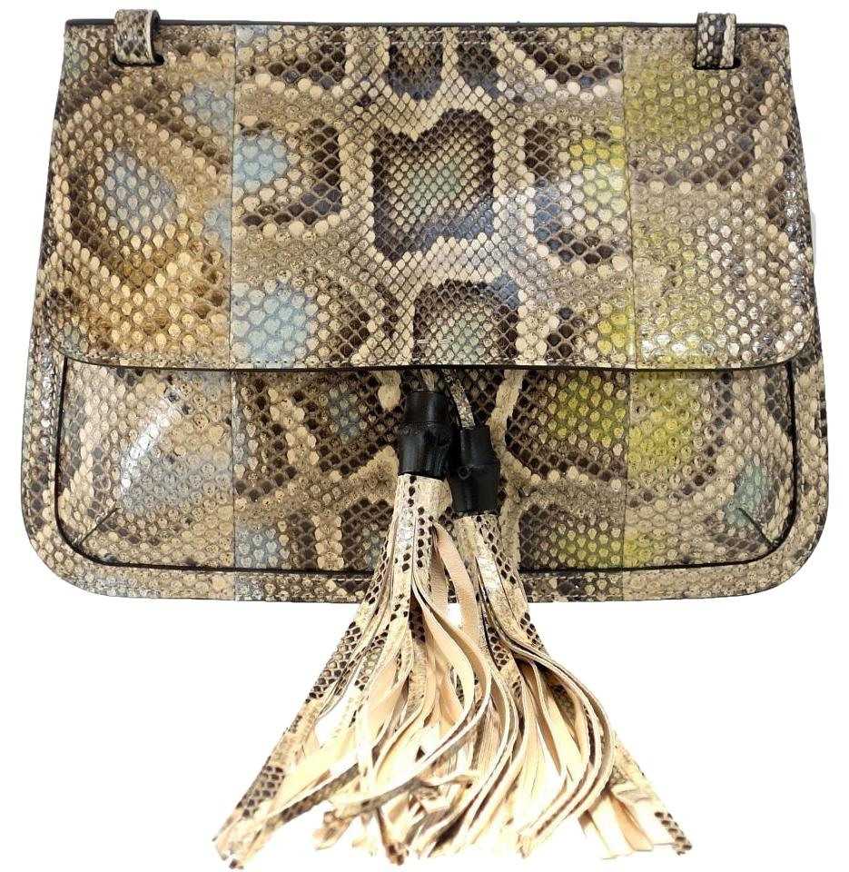 bf284bb174ac Gucci Bamboo Daily Flap Multicolor Python Skin Leather Shoulder Bag ...
