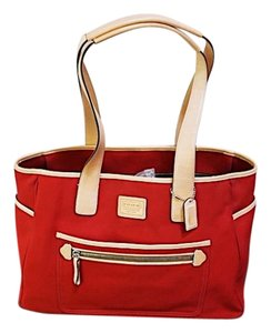 Coach Summer Casual Leather Business Tote in Red