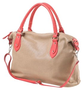 Satchel in beige and pink