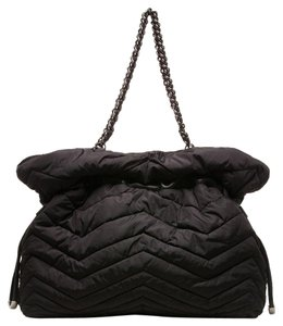 Stuart Weitzman Nylon Leather Pillow Tote in Black