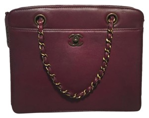 Chanel Leather Rare Handbag Satchel in maroon