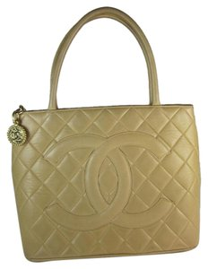Chanel Beige Lambskin Leather Cc Medallion Tote