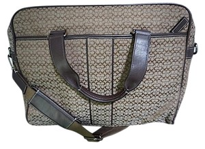 Coach Monogram Canvas Leather Laptop Business Tote in Monogram Brown