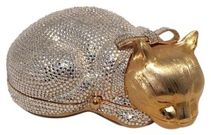Judith Leiber Cat Minaudiere Cat Swarovski Crystals gold Clutch