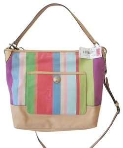Coach Signature Hamptons Stripe Carly 19389 Shoulder Bag