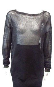 Ralph Lauren Over Shirt Sheer High Low Longsleeve Top Black