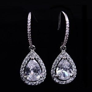 Bridal Cz Tear Drop Earrings Rhodium Plated Fish Hook Pierced