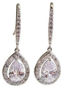 Brilliant Bridesmaid Wedding Tear Drop Cz Earrings