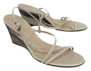 Burberry Taupe Leather Strappy Sandal Wedges