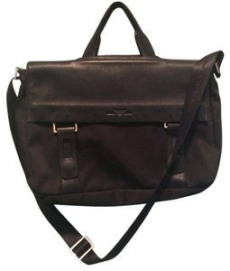 Giorgio Armani Men Women Black Leather Messenger Bag