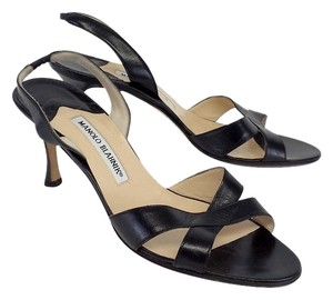 Manolo Blahnik Black Leather Heels Sandals