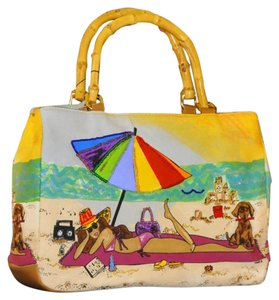 Bueno Collection Wearable Art Large Vintage Collectable Colorful Beaded Wearable Art Tote in Yellow Multi