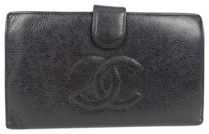 Chanel CHANEL CC Logos Caviar Skin Leather Bifold Wallet Purse Black clutch