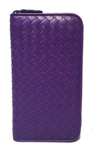 Bottega Veneta Bottega Veneta Purple Woven Leather Zip Wallet