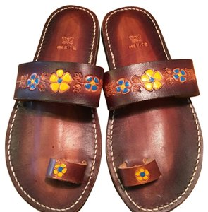 Other Vintage 1970s Costume Toe Hippie Brown Sandals