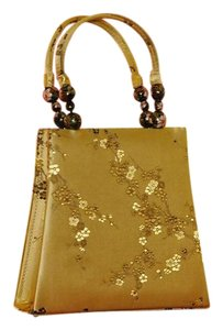 Yi Lin Stunning Vintage Collectable Silk Cloisonne' Beads Tote in Gold