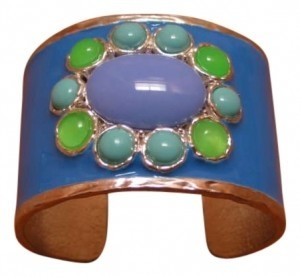 Blue enameled cuff bracelet with large center stone