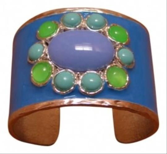 Preload https://item5.tradesy.com/images/blue-enameled-cuff-with-large-center-stone-bracelet-186404-0-0.jpg?width=440&height=440