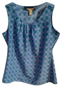 Banana Republic Silky Pattern Classic Top Blue, Teal, White