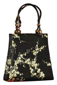 Yi Lin Silk Evening W/ Gold Flrs Cloisonne Beads Stunning Tote in Black
