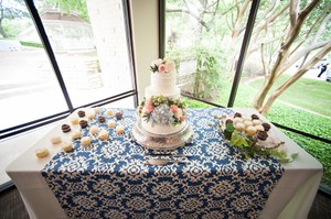 Blue Damask Tablecloth Overlay