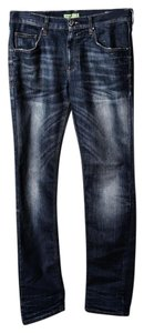 Versace Womens Regular Fit Straight Leg Jeans-Dark Rinse