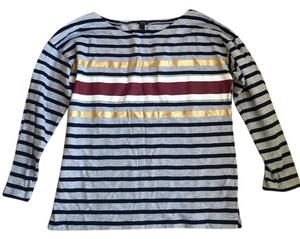 J.Crew J Crew French T Shirt Charcoal Ivory navy stripe