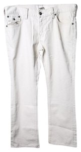 True Religion Mens White Flare Leg Jeans-Light Wash
