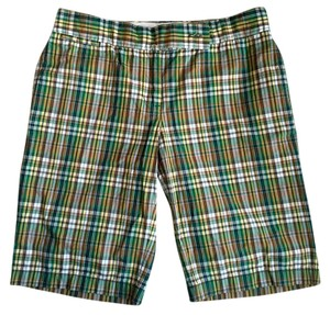 J.Crew Bermuda Shorts Plaid green, navy, yellow