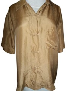 The Limited Silk Button Down Short Sleeve Top Beige