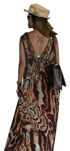 Brown yellow animal beach Maxi Dress by Paradis Miss