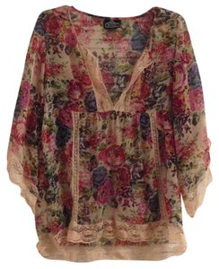 Angie Sheer Floral Lace Bell Sleeve Top