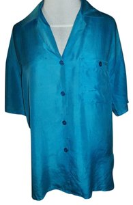 Options Melrose Silk Button Down Top Turquoise