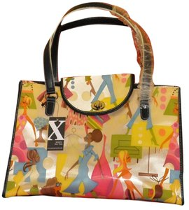 Maxx NewYork Vintage Collectable Vinyl Colorful Clothing 70's Sophistacation Tote in Multi Color