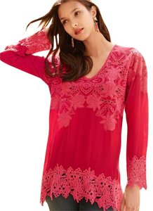 Johnny Was Tunic Lace Trim Arched Hem Top Red