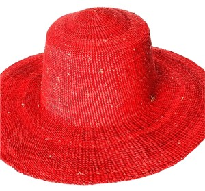 JAJA COLLECTION JAJA COLLECTION Handcrafted Woven Straw Sunhat - RED