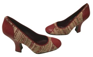 Prada Capped Toe And Red leather multi color wool fabric E36.5 Pumps