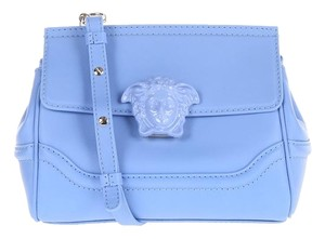 Versace Leather Shoulder Satchel in Pale Blue