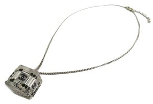 Chanel Chanel Silver Black Clear Cube CC Charm Necklace in Box