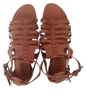 Guess Gladiator Wedge Leather Brown Sandals