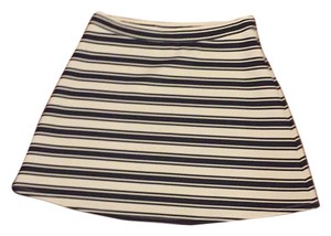 Abercrombie & Fitch Stripe Neoprene Skater Nautical Mini Skirt Navy & White