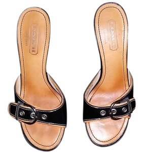 Coach Sandals Leather Buckle Black Mules