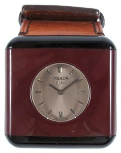 Prada WATCH - BRACELET MAROON BLACK BROWN LEATHER BAND RESIN STAINLESS STEEL