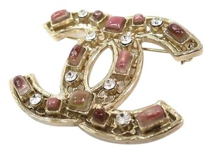 Chanel Chanel Gripoix Pink Stone Gold CC Charm Brooch in Box