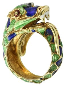 Other Dragon Green & Blue Enamel on 14K yellow gold ring.