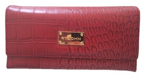 St. John Red Faux Alligator St John Wallet-Never Used