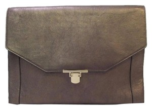 Lanvin Envelope Leather Metallic Bronze Clutch