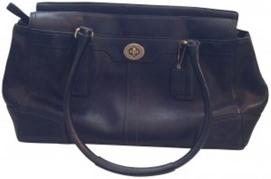 Coach Leather Signature Brass Tote in black