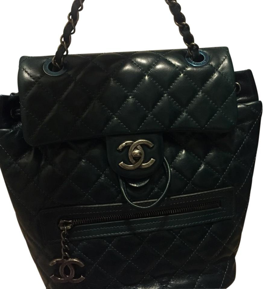 5d36222e35e3 Chanel Price Drop Sack Vintage Sold Out Dark Green Leather Backpack ...