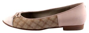 Chanel Ballet Tweed Pink Bow Tan Flats